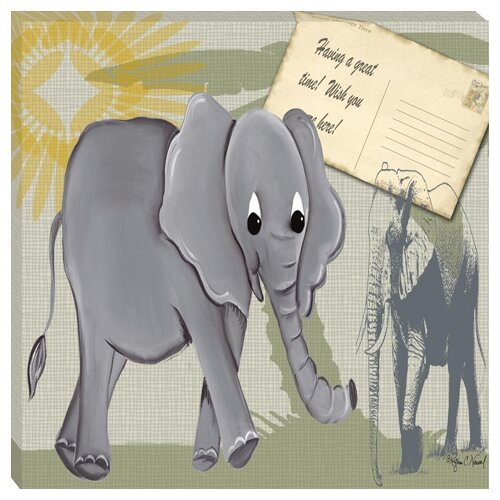 Doodlefish Safari Elephant Giclee Canvas Art