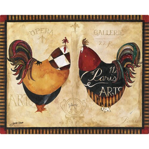 "Magic Slice 12"" x 15"" Paris Roosters Design Cutting Board"