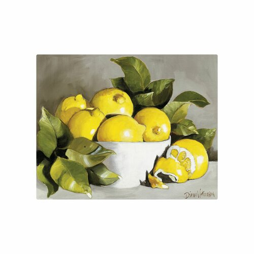 "Magic Slice 12"" x 15"" Lemon with White Bowl Design Cutting Board"