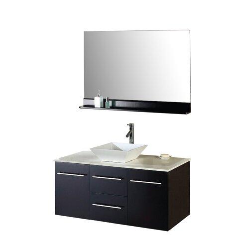 Virtu ultra modern 47 single bathroom vanity set with mirror for Ultra bathroom vanities burbank