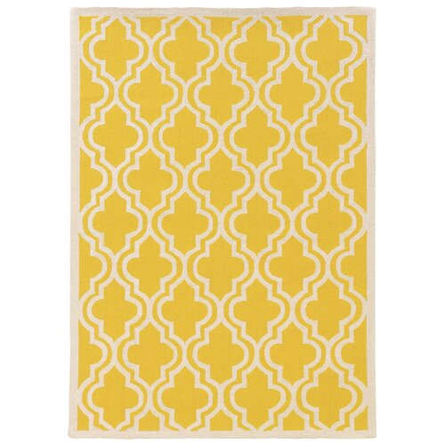 Linon Rugs Silhouette Yellow Quatrefoil Rug