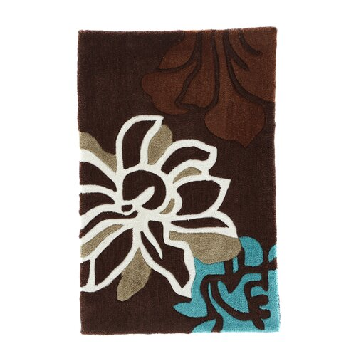 Linon Rugs Trio Space Dyed Brown/Soft Aqua Rug