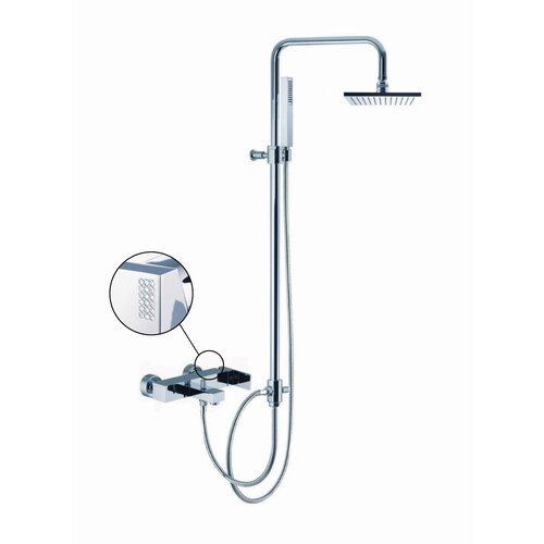 Fima by Nameeks Brick Chic Wall Mount Thermostatic Tub and Shower Faucet with Hand Shower