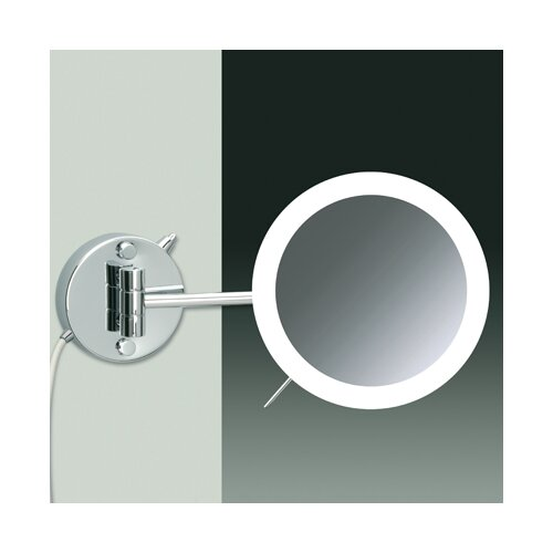 Windisch by Nameeks Wall Mount 3X Magnifying LED Round Mirror with One Arm Direct Wired