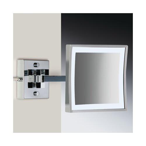 Wall Mounted 3X Magnifying LED Mirror with Two Arms and Switch