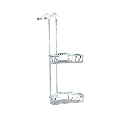 Geesa by Nameeks Basket Left Double Corner Shower Basket in Chrome