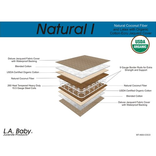 L.A. Baby Natural I, Natural Coconut Fiber and Latex with Organic Cotton Crib Mattress
