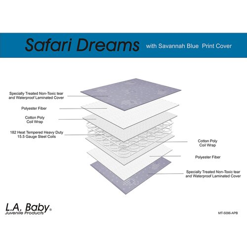 L.A. Baby Safari Dreams with Savannah Print Cover Crib Mattress