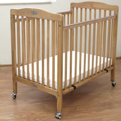 L a baby folding wooden compact crib reviews wayfair for Baby bed with wheels