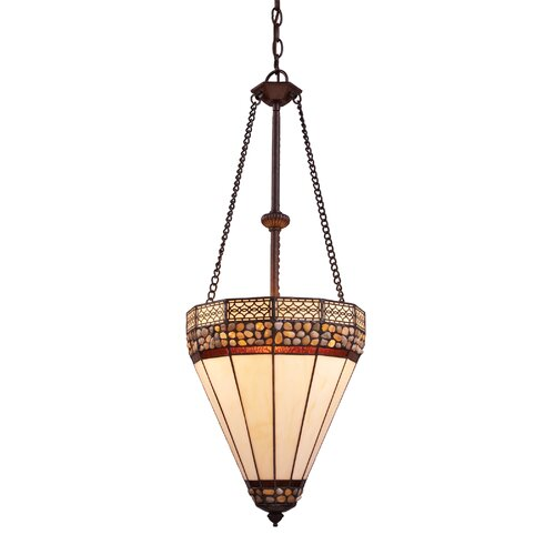 Landmark Lighting Stone Filigree 4 Light Bowl Inverted Pendant
