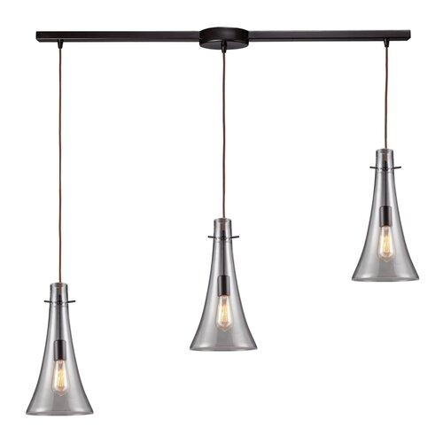 Landmark Lighting Menlow Park 75W 3 Light Pendant with Clear Blown Glass