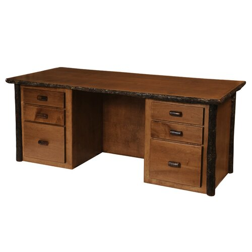 Fireside Lodge Hickory Executive Desk with 6 Drawer