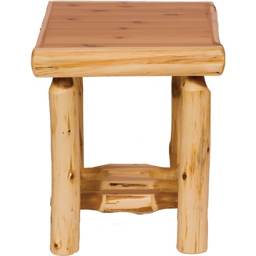 Traditional Cedar Log End Table