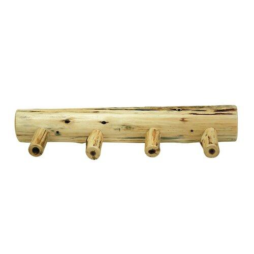 Traditional Cedar Log Coat Rack with Pegs