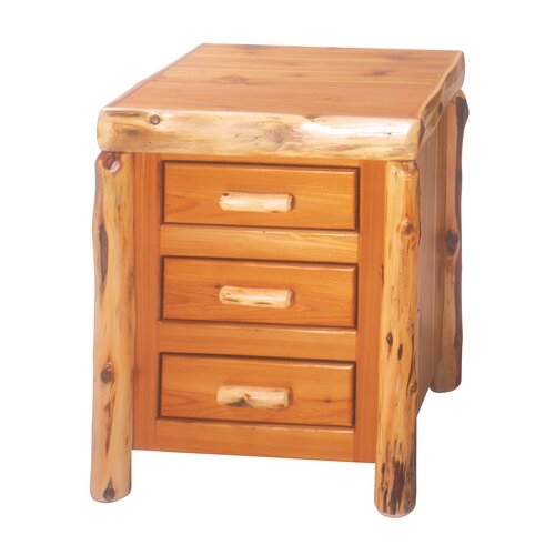 Fireside Lodge Traditional Cedar Log 3 Drawer Nightstand
