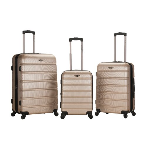 Rockland Melbourne 3 Piece ABS Luggage Set