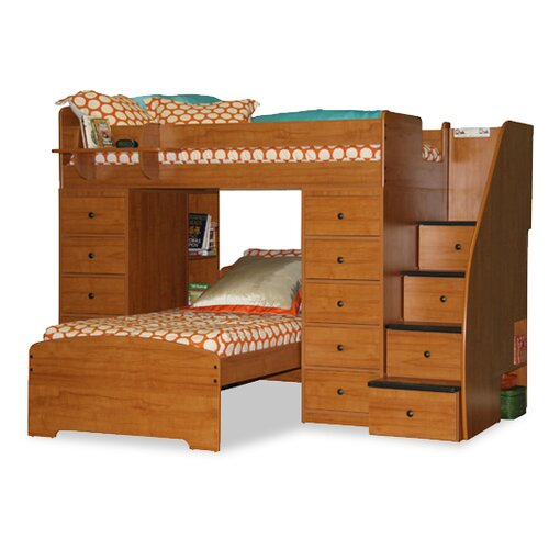 Sierra Twin Space Saver L-Shaped Bunk Bed with Stairs and Storage (Twin over Twin)