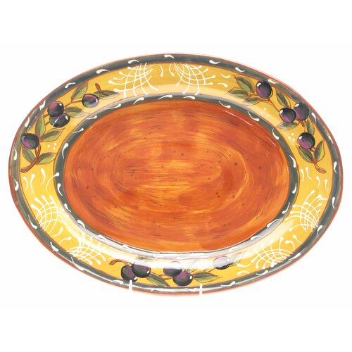 "Certified International French Olives 17.75"" Oval Platter"