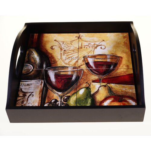 """Certified International Wine and Cheese Party 12.75"""" 4-Tile Square Wood Tray"""