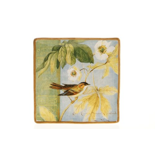 "Certified International Botanical Birds 12.25"" Square Platter"