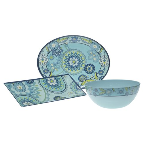 Certified International Capri Blue by Jennifer Brinley 3-Piece Serving Set