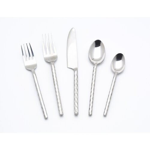 5 Piece Hammered Flatware Set
