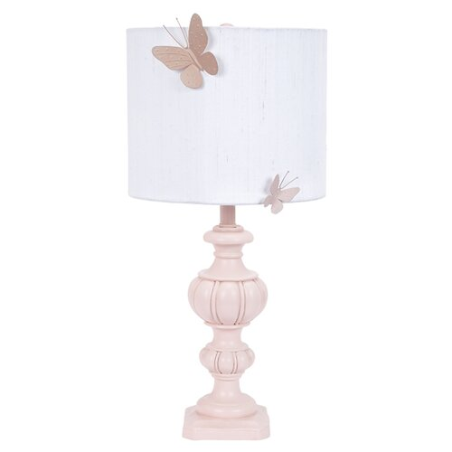 Jubilee Collection Urn Large Table Lamp with Drum Shade and Butterfly Magnet on Base