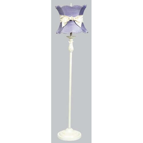 Jubilee Collection Ridged Floor Lamp with Scallop Hourglass Shade and Sash