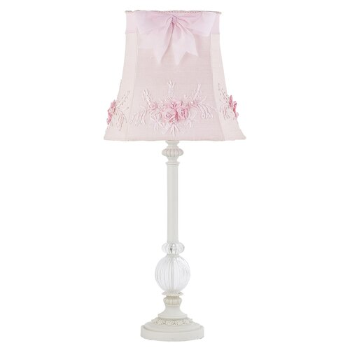 Jubilee Collection One Glass Ball Large Table Lamp with Floral Bouquet Shade