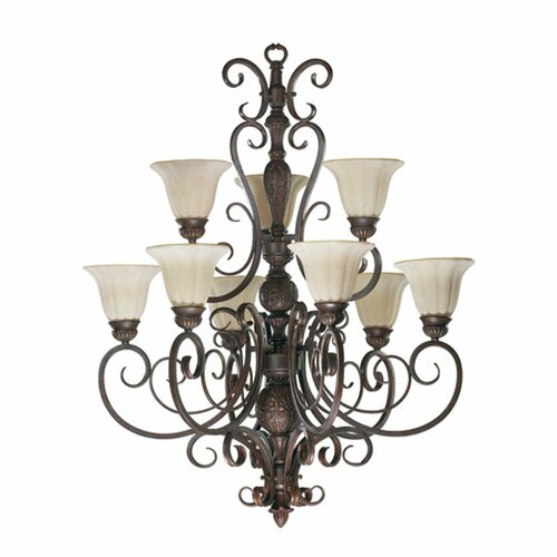 Coronado 9 Light Chandelier in Gilded Bronze
