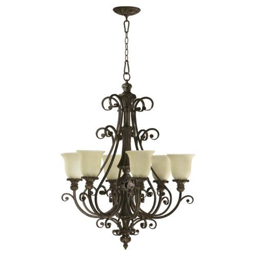 Quorum Fulton 6 Light Chandelier with Scavo Glass Shade