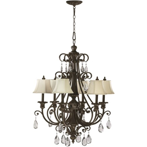 Quorum Fulton 6 Light Chandelier with Cream Shade