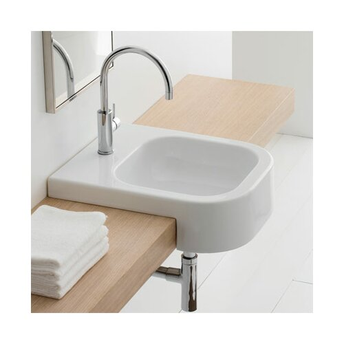 Scarabeo by Nameeks Next Semi Recessed Single Hole Bathroom Sink