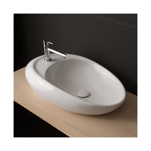 Scarabeo by Nameeks Moai Vessel Bathroom Sink with Single Faucet Hole