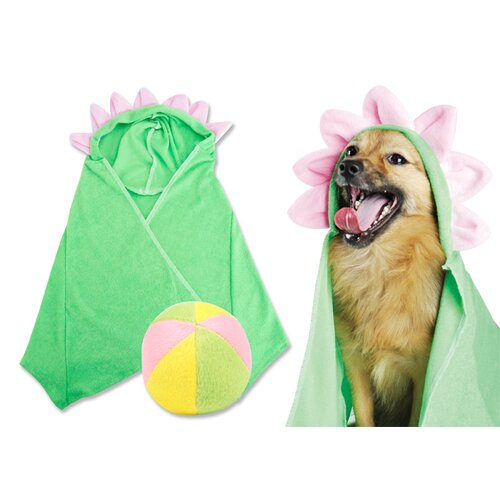 Flower Hooded Towel and Plush Beach Ball Dog Toy