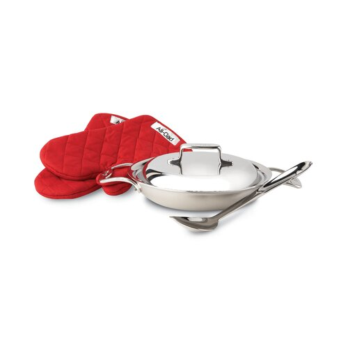 All-Clad d5 Brushed Stainless Steel 2-qt. Saute Pan with Lid, Spoon and Mitts