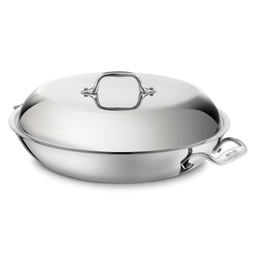 Stainless Steel 4-qt. Aluminum Round Braiser with Lid