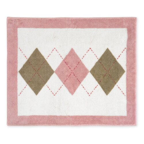 Sweet Jojo Designs Argyle Pink Cocoa Collection Floor Rug