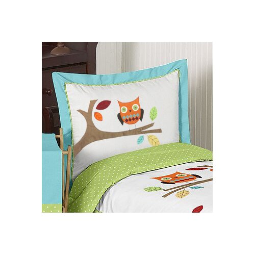 Hooty Turquoise and Lime Standard Pillow Sham