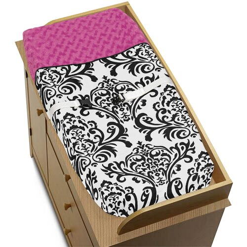 Sweet Jojo Designs Isabella Hot Pink, Black and White Collection Changing Pad Cover
