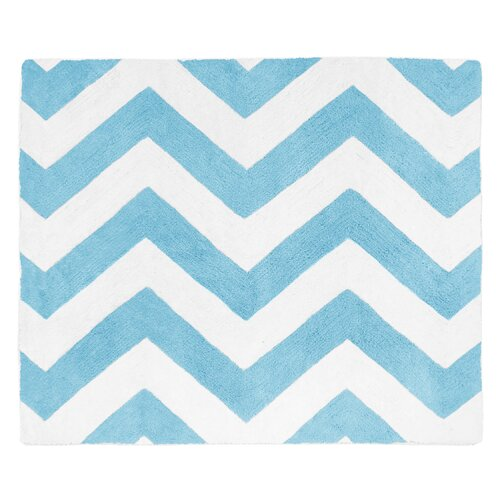 Chevron Turquoise and White Rug