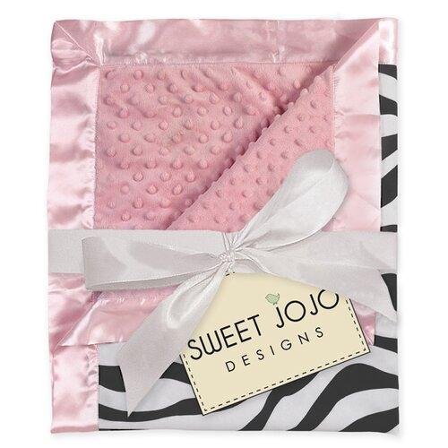 Zebra Pink Baby Microsuede Throw Blanket