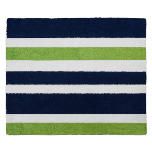 Lime Green Area Rug: Sweet Jojo Designs Navy Blue And Lime Green Stripe Area