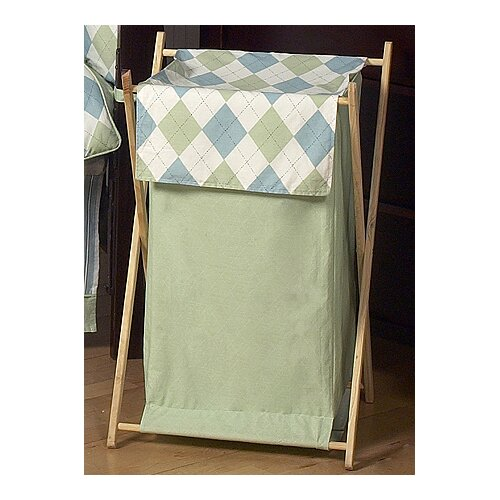 Sweet Jojo Designs Argyle Green Blue Laundry Hamper
