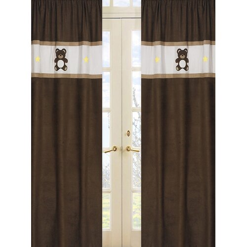 Sweet Jojo Designs Teddy Bear Pink Curtain Panel