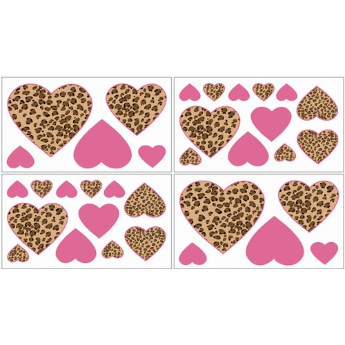 Cheetah Pink Wall Decal 4 piece set