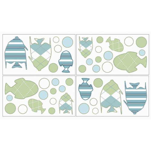 Sweet Jojo Designs Go Fish Wall Decal 4 piece set