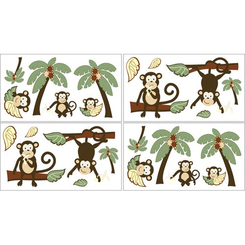 Sweet Jojo Designs Monkey Wall Decal 4 piece set