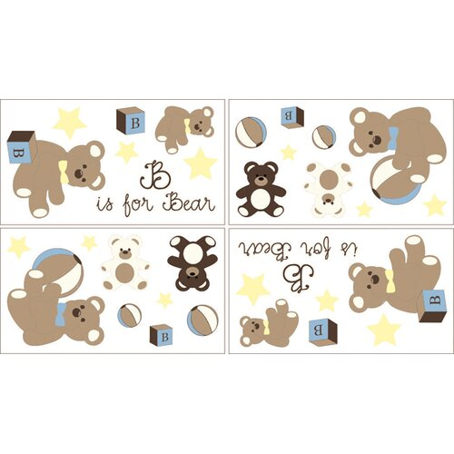 Sweet Jojo Designs Teddy Bear Wall Decal 4 piece set