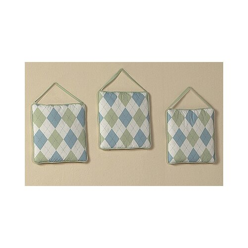 Sweet Jojo Designs 3 Piece Argyle Green Blue Hanging Art Set